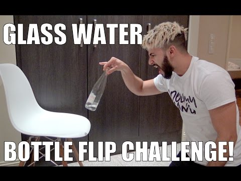 GLASS WATER BOTTLE FLIP CHALLENGE!!