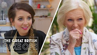 Mary Berry can&#39t quite finish Zoë Sugg&#39s sponge!  The Great Comic Relief Bake Off