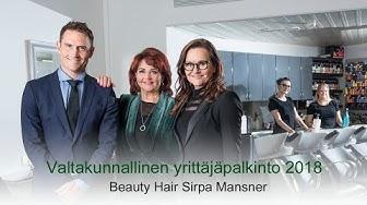 Valtakunnallinen yrittäjäpalkinto 2018 - Beauty Hair Sirpa Mansner
