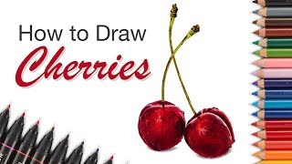 How to Draw Cherries - Colored Pencils and Markers