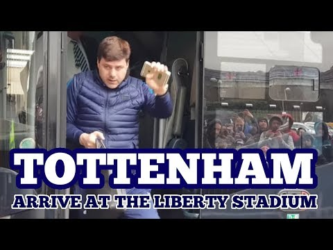 TOTTENHAM HOTSPUR ARRIVE AT THE LIBERTY STADIUM: Swansea v Tottenham - 17 March 2018
