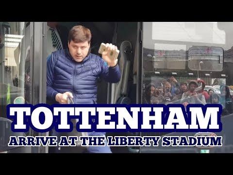 TOTTENHAM HOTSPUR ARRIVE AT THE LIBERTY STADIUM: Swansea v Tottenham: 17 March 2018