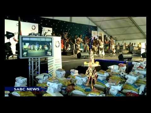 President Jacob Zuma hosts a party for children in Nkandla.