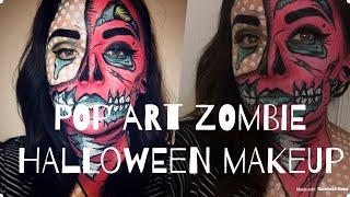 Pop art zombie makeup tutorial/ step by step