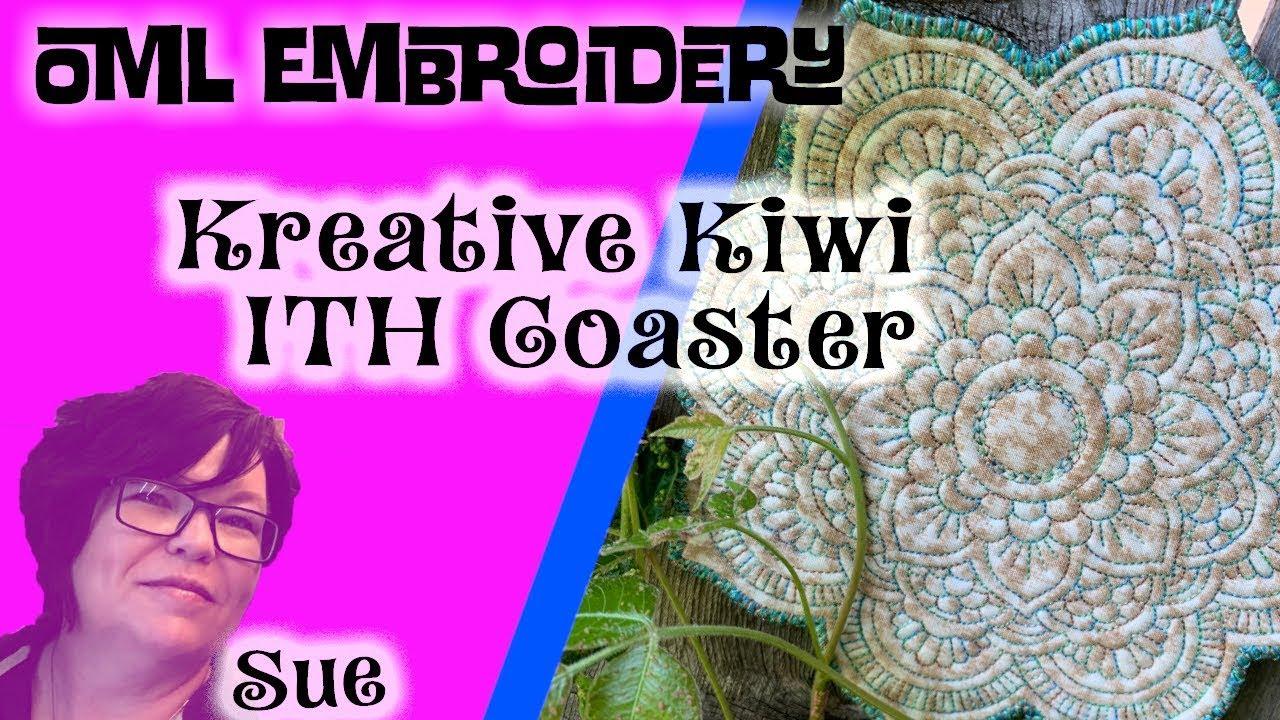 Kreative Kiwi machine embroidery in the hoop (ITH) Mandala Coaster