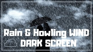 DARK SCREEN-Heavy RAIN and Howling POLAR Wind with Thunder-11 hours