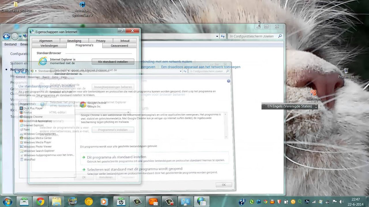 how to change default email on windows 7