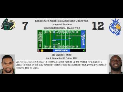 Week 8: Kansas City Knights (2-5) @ Melbourne Uni Royals (2-5)