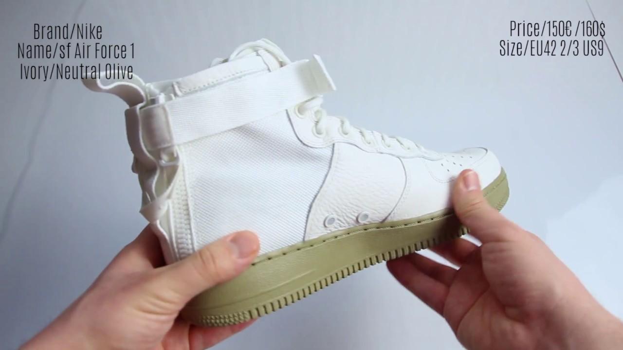 On Feet Nike Air Force 1 SF WhiteOlive