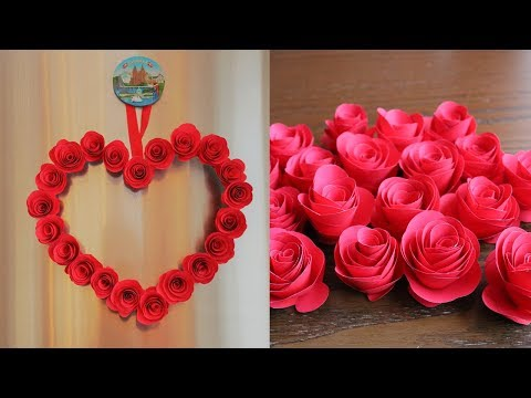 DIY Paper Heart Wall Decor - Easy Wall Decoration Ideas - Paper craft