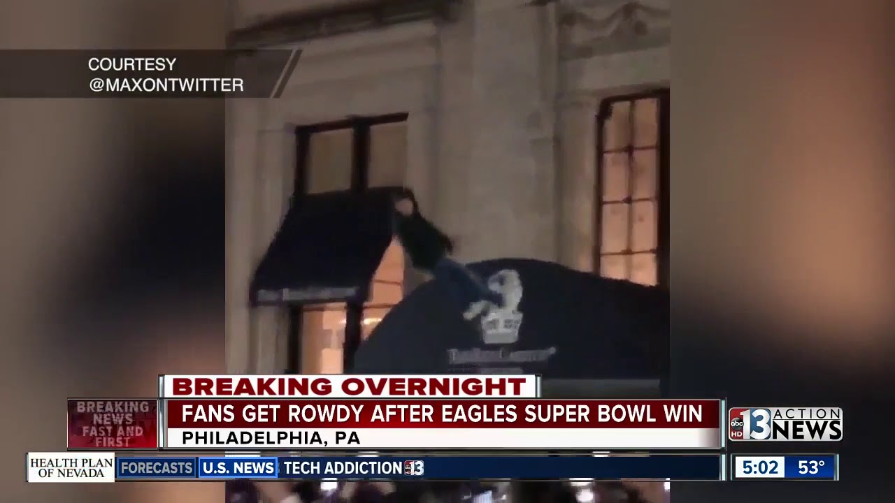 Eagles fans get rowdy after super bowl win