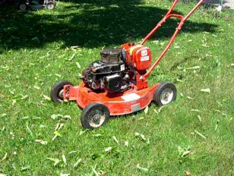 Jacobsen commercial 2-cycle pushmower - YouTube