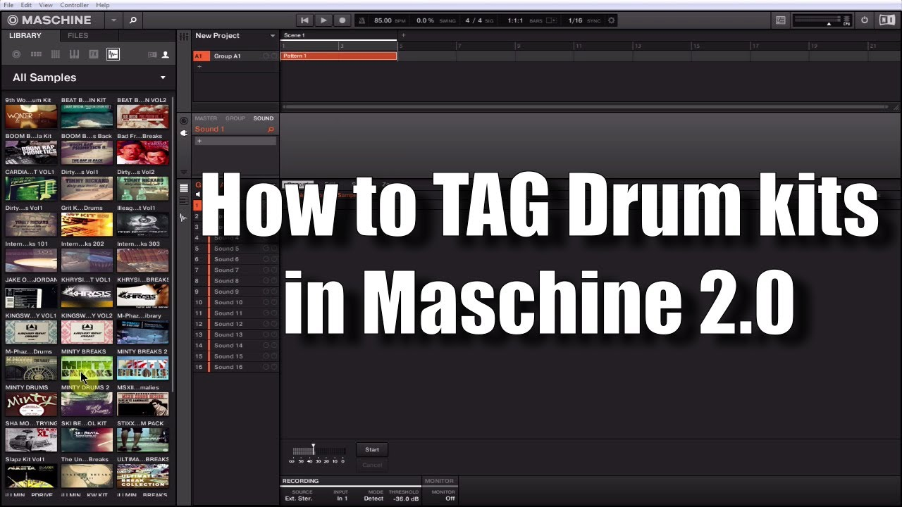 how to tag drum kit samples in maschine 2 0 youtube. Black Bedroom Furniture Sets. Home Design Ideas
