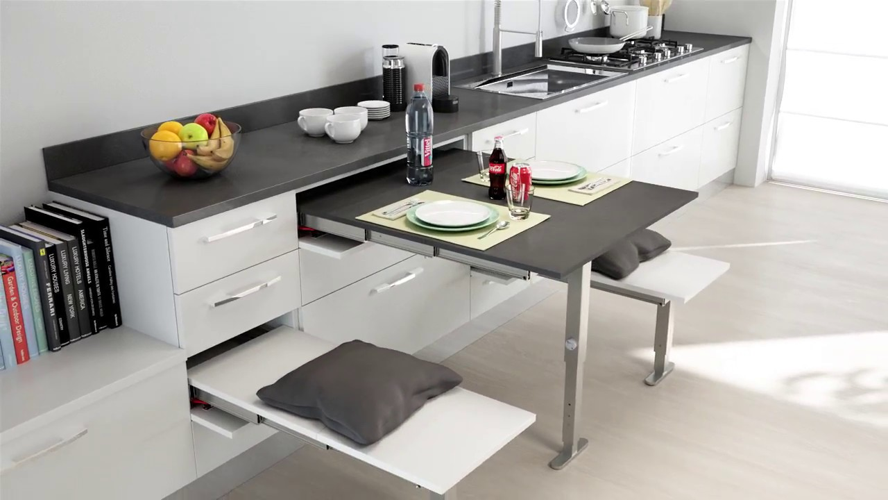 Pull Out Kitchen Table t-able pull out table with leg support | bpf - youtube