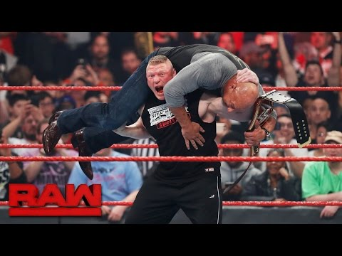 Brock Lesnar attacks new Universal Champion Goldberg: Raw, March 6, 2017