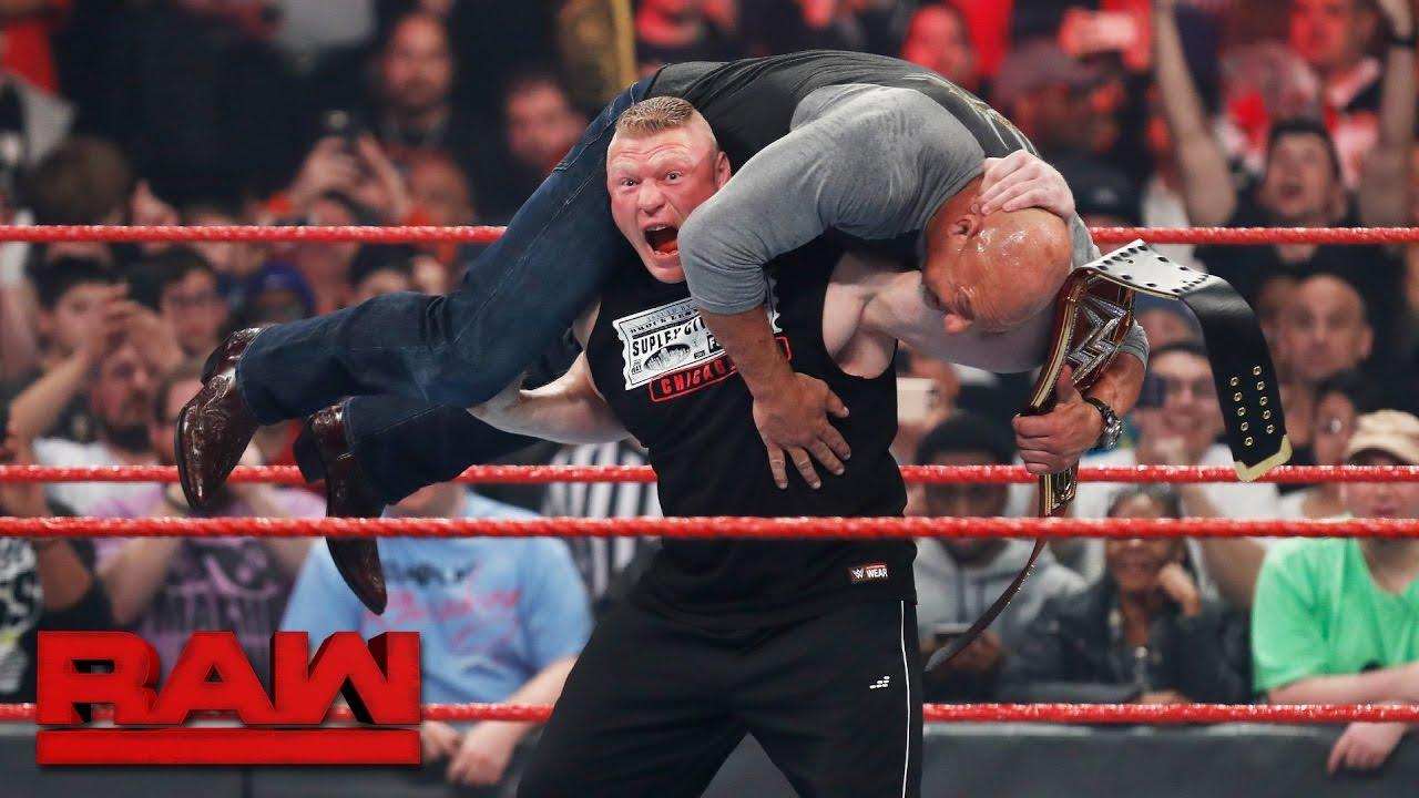 Brock Lesnar Attacks New Universal Champion Goldberg Raw