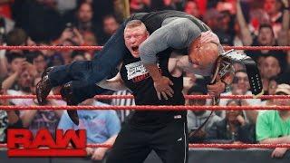 Brock Lesnar attacks new Universal Champion Goldberg: Raw, March 6, 2017