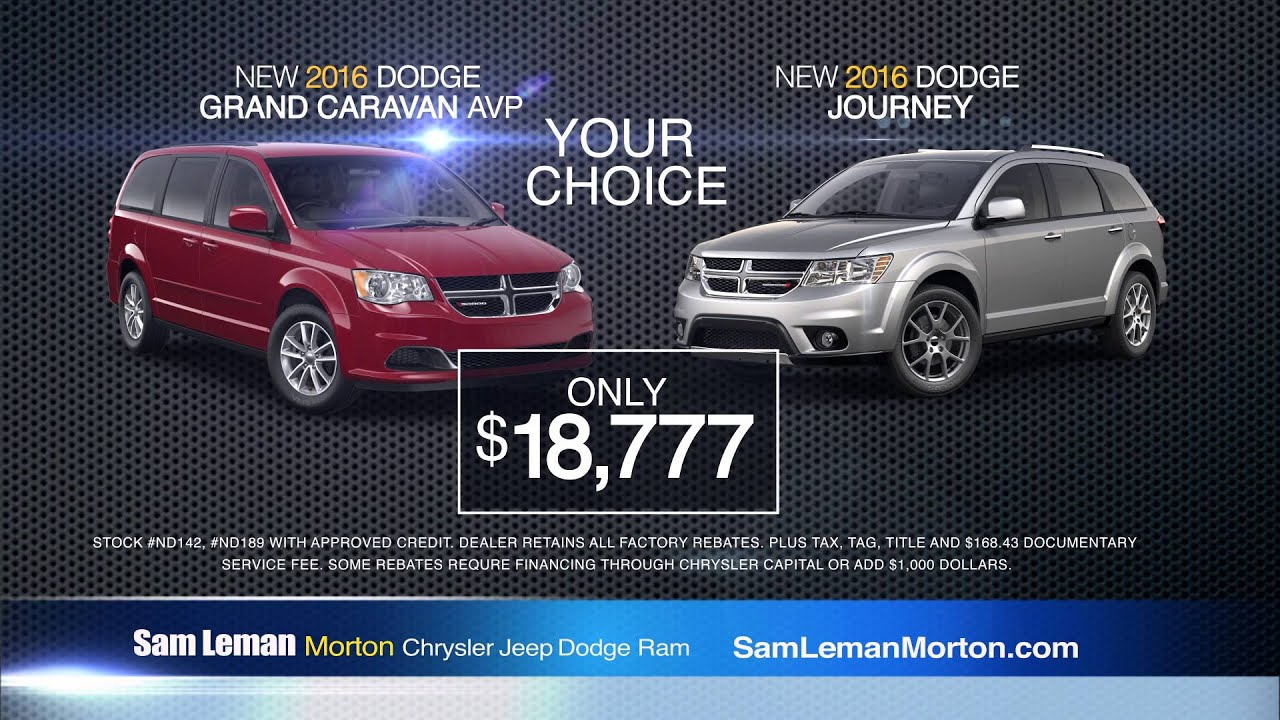 "Sam Leman Chrysler Dodge Jeep Ram Morton ""Dodge Year End Clearance"