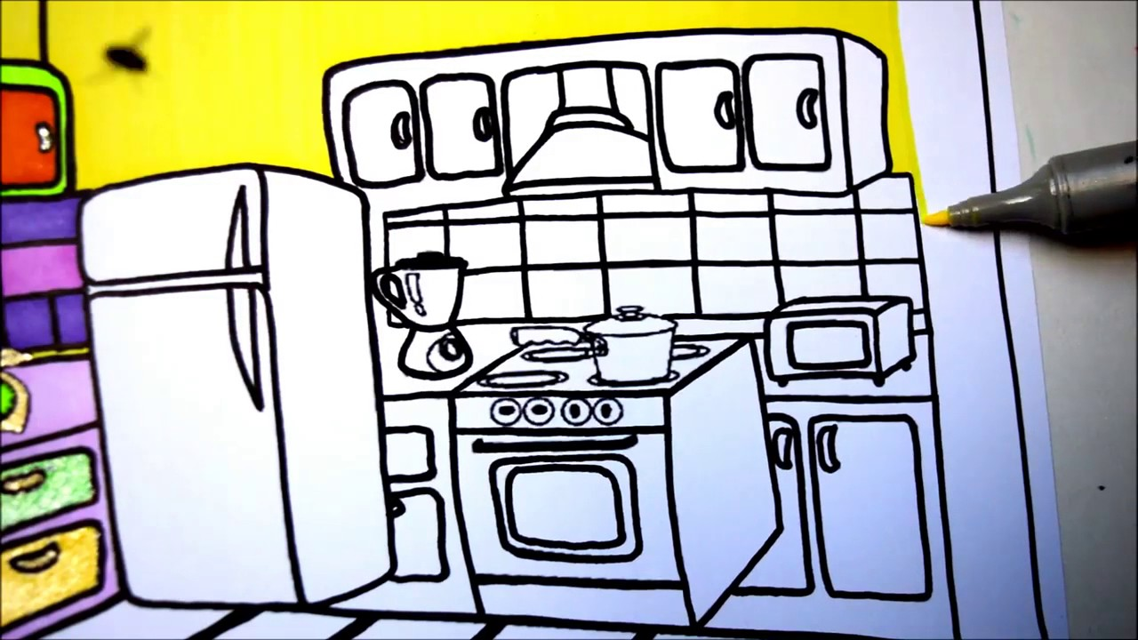 Kitchen Drawing For Kids learn colors for kidscoloring kitchen drawing pages l coloring