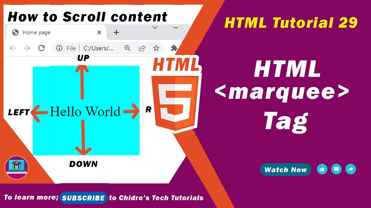 Download HTML Tutorial 29 - HTML marquee tag | HTML Scrolling text