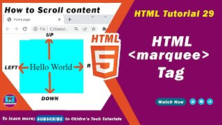 HTML video tutorial - 29 - html marquee tag