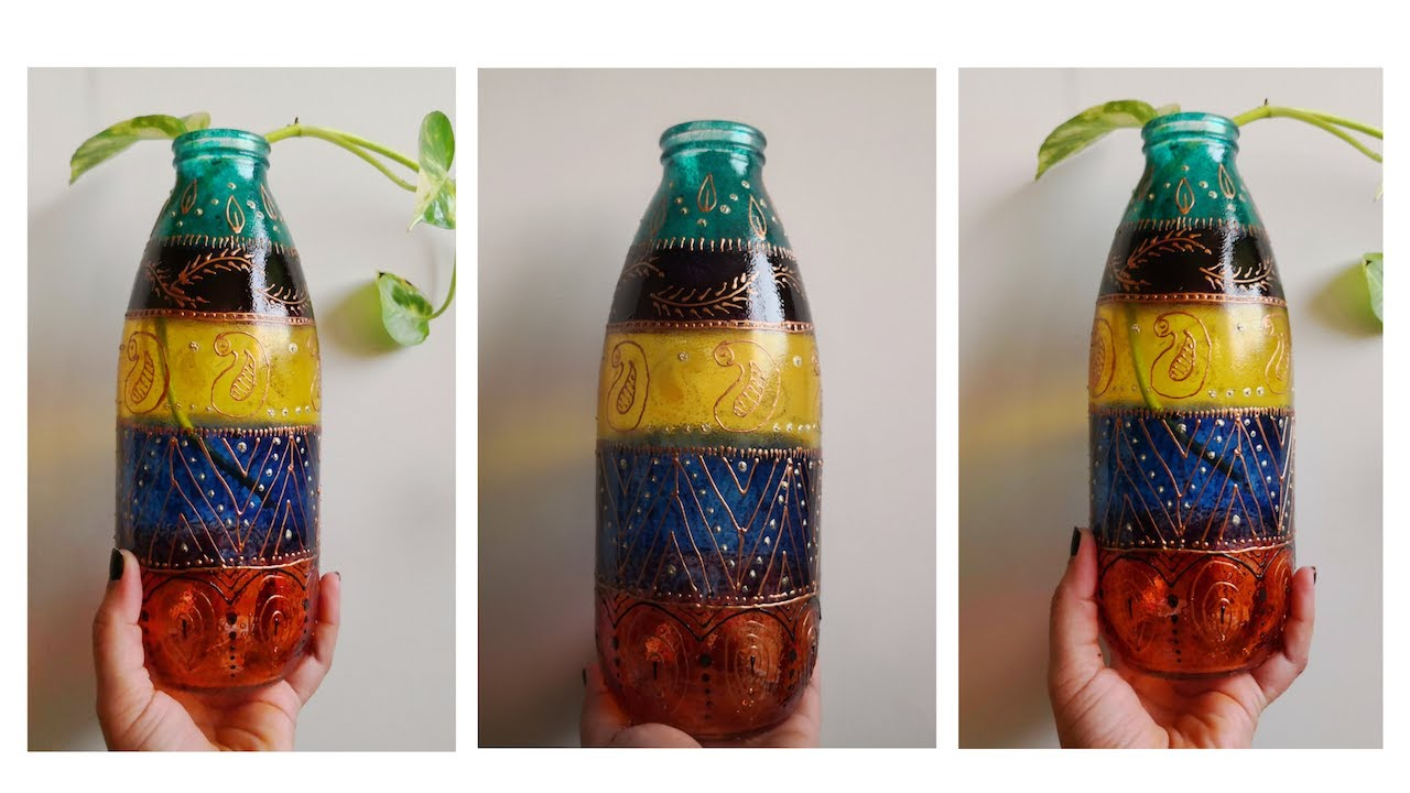 Quick And Easy Bottle Decoration Idea Diy Glass Painting Technique For Beginners Home Decor Ideas Myhobbyclass Com