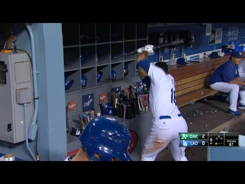 Ethier shows frustration after lining out