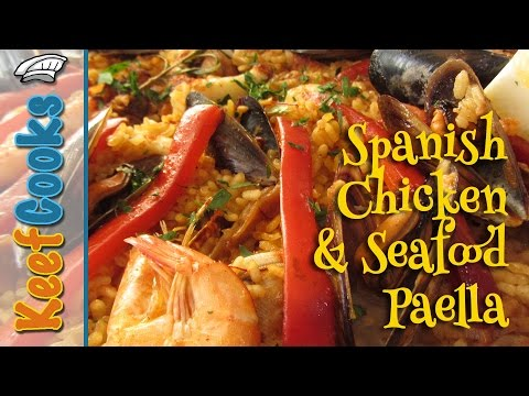 Spanish Chicken And Seafood Paella - Paella Mixta @Chicken Recipes