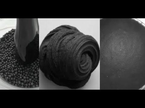 BLACK SLIME Satisfying ASMR Crunchy Floam Slime Compilation