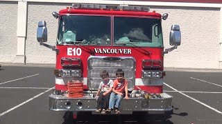 Red Fire Truck Surprises Kids with REAL FireFighter - Fire Truck Learning Videos for Children
