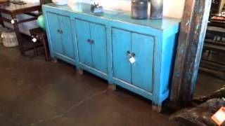 Terra Nova Asian And Contemporary Furniture - Solid Elm Antique Blue Painted Buffet Console