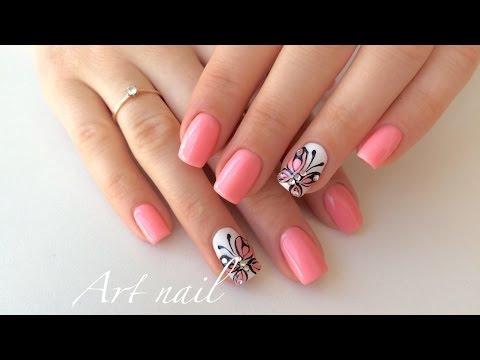 Бабочки на ногтях фото пошагово