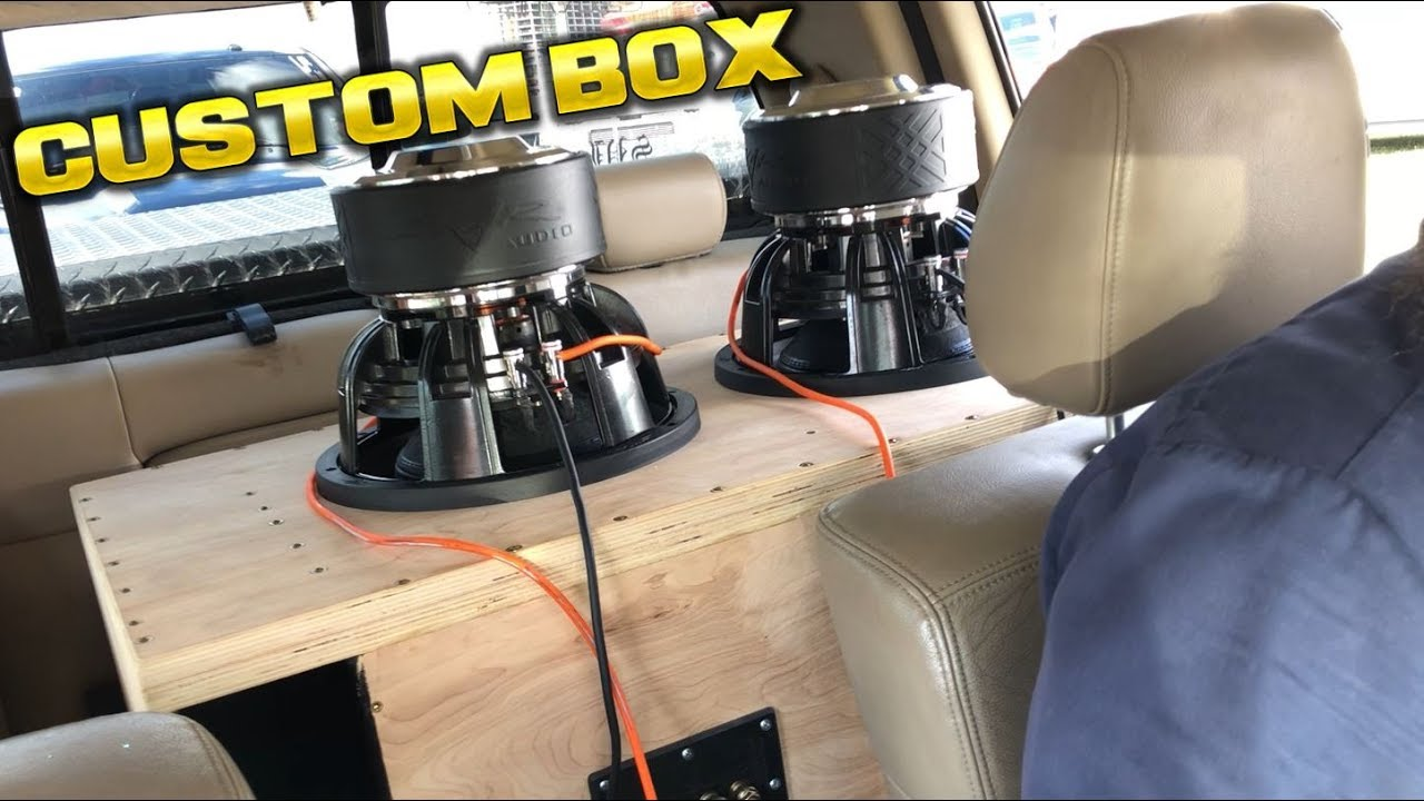 CUSTOM SUBWOOFER BOX TUNED TO 32HZ WITH 2 SKAR ZVX 12S FLEXING INSIDE THIS  TRUCK
