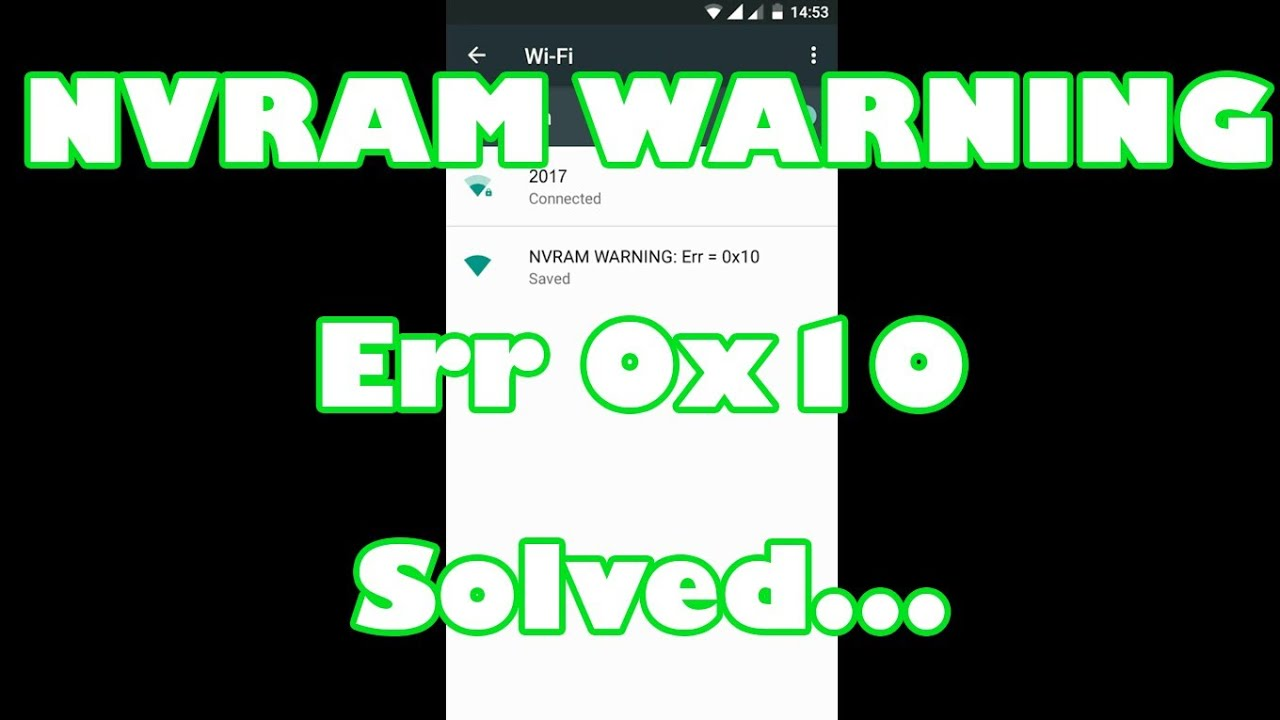 NVRAM WARNING Err 0x10 permanent solution by Earth Network