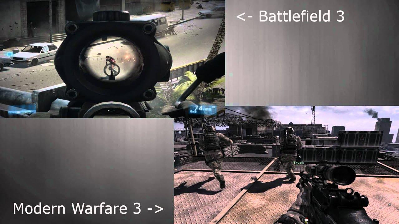 Modern Warfare 3 vs Battlefield 3 - Graphics | Side by ...