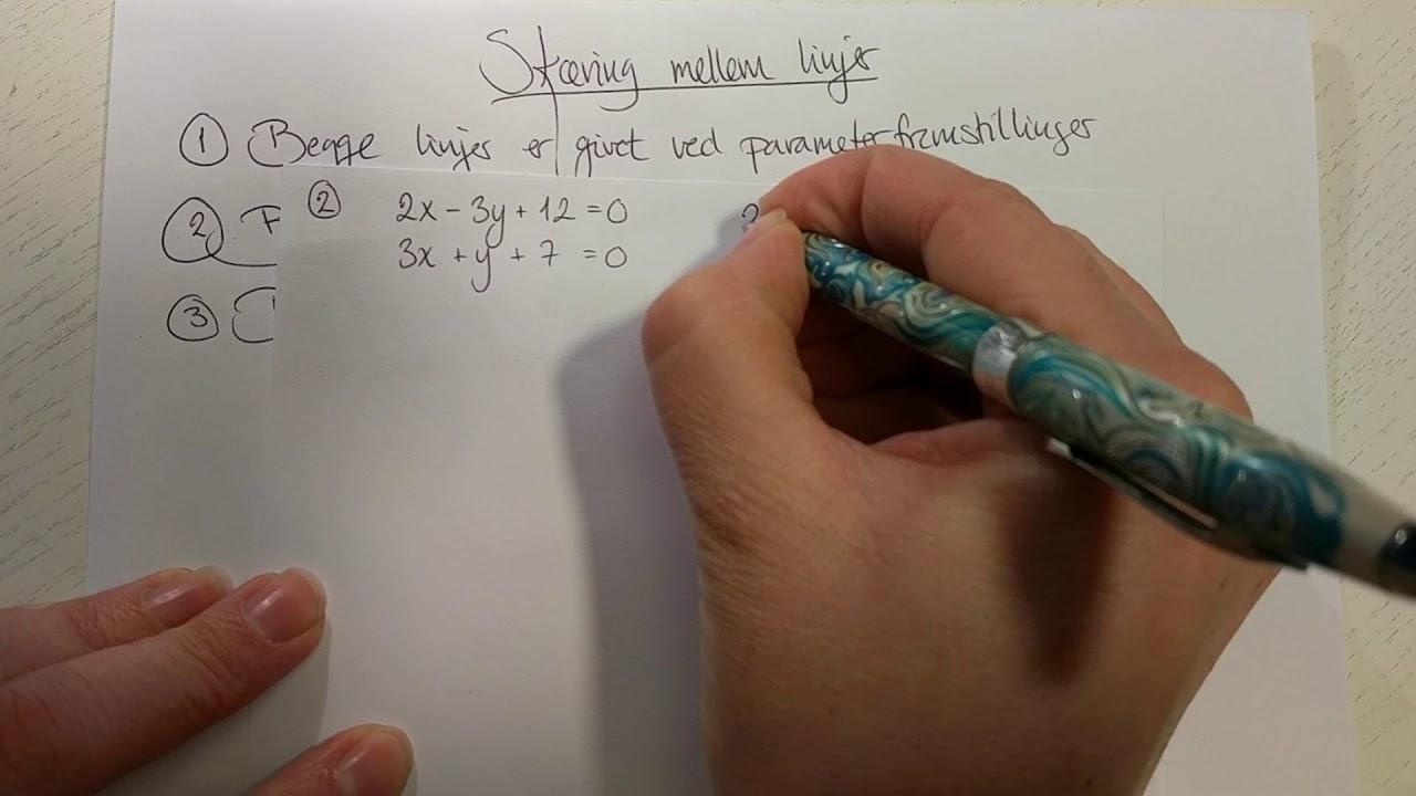 Skæring mellem linjer ved parameterfremstillinger og ligninger