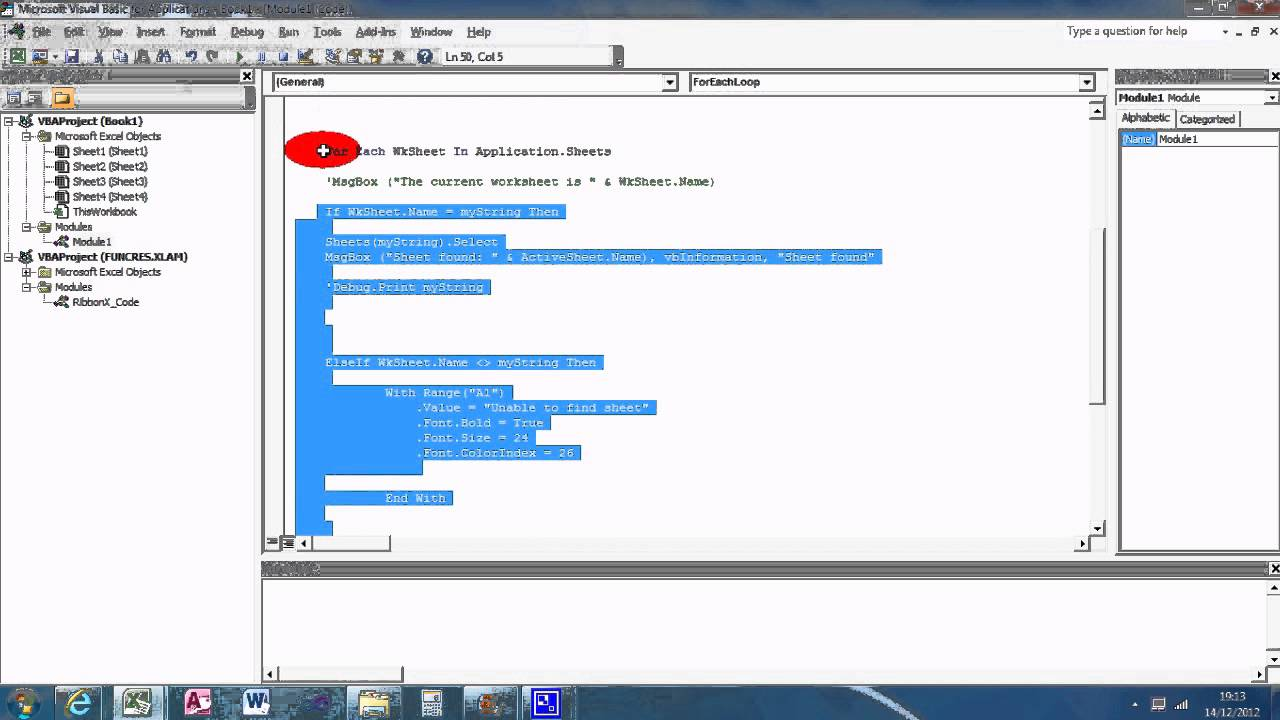 Vb Excel 007 E Ch Loop To Select W Ksheet Youtube