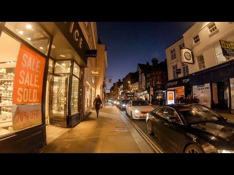 Walking in London: Richmond at Night (The Station to Riverside) [4K Binaural ASMR]