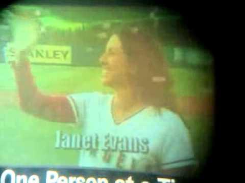 6/24/14 OLYMPIANS RAFER JOHNSON, JANET EVANS, & PETER VIDMAR @ ANGELS GAME for LA84