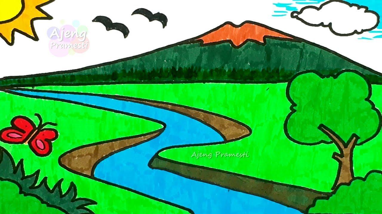 Belajar mewarnai gambar pemandangan gunung dan sungai ...
