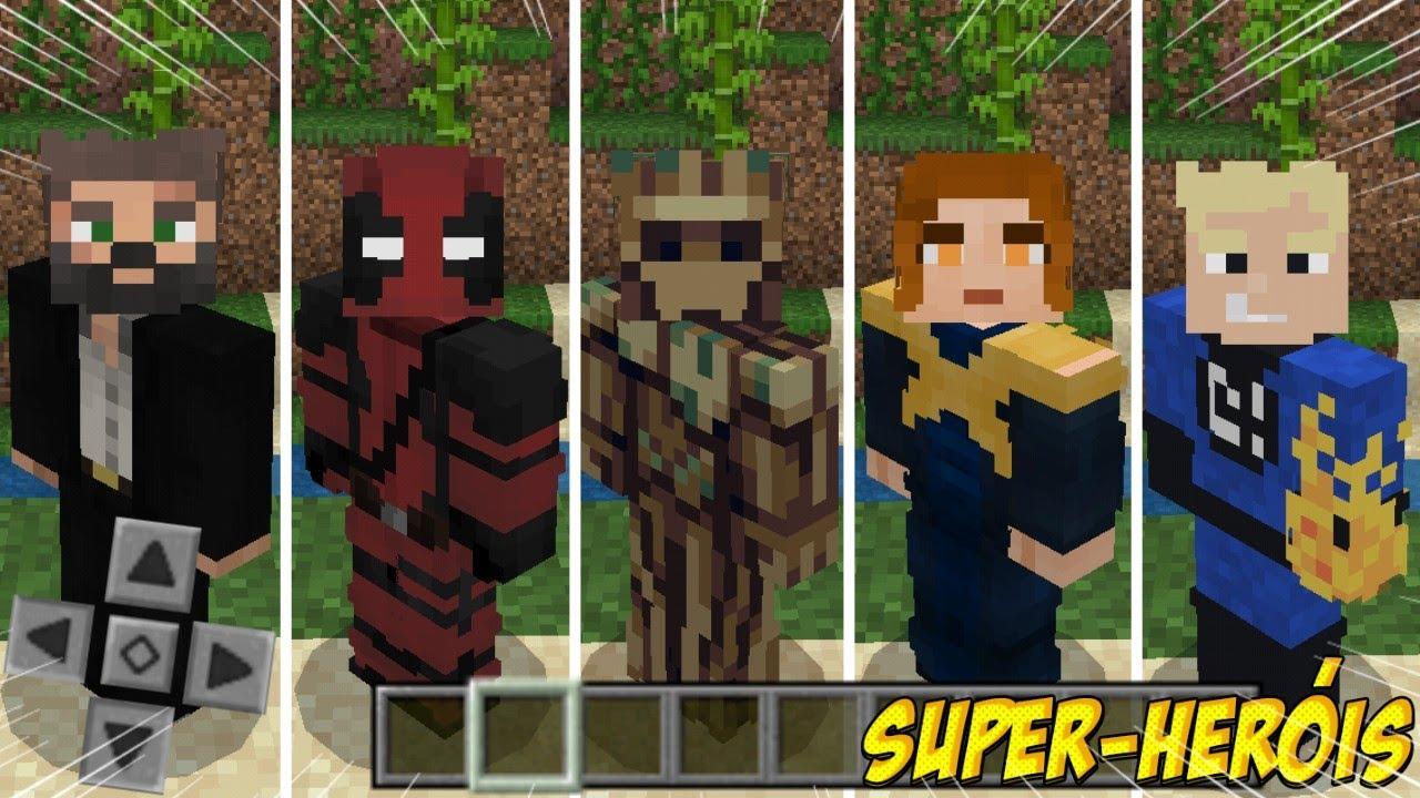 Saiu! O Incrível Skin-Pack de Heróis - [ +9 Skins, X Men, Quarteto  Fantástico, Avengers ] Mcpe 9.96