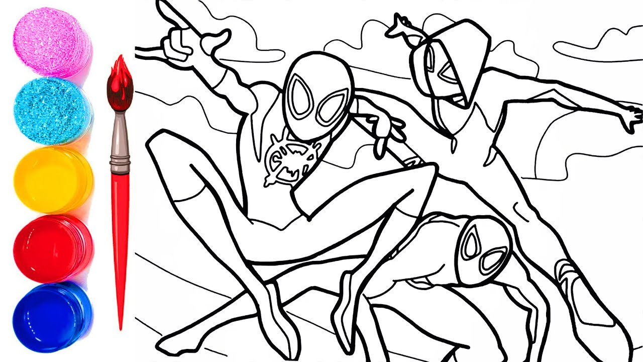 spiderman into the spiderverse coloring pages how to
