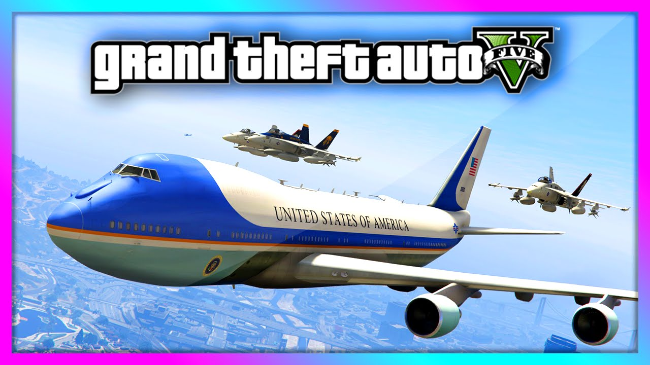 GTA 5   Air Force One 747 Jumbo Jet Gameplay With INTERIOR! Presidential Air  Fleet! (GTA V)   YouTube