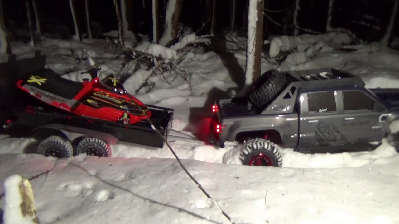 Ski Doo 1 5 Scale Rc Snowmobile Brushless On Trailer4x4 Truc