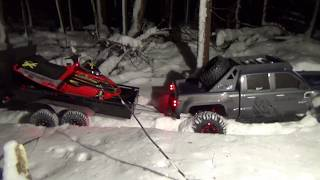 Ski-doo 1/5 scale rc snowmobile brushless on trailer,4x4 truck adventure.