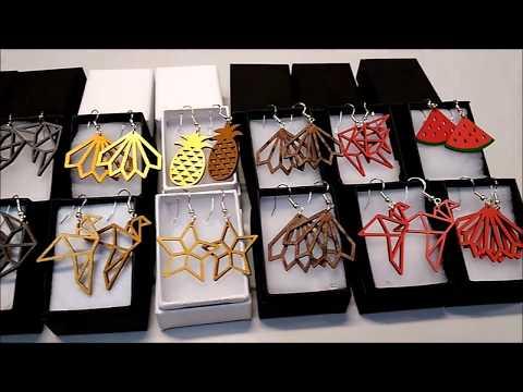 Gamme Boucles d'oreilles artisanales en bois - Made in France