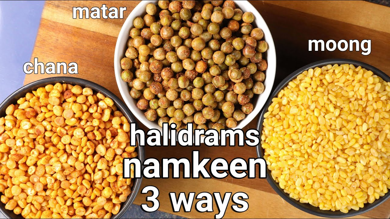 3 popular haldiram namkeens - moong dal, matar namkeen, channa dal   3 ways haldiram namkeens