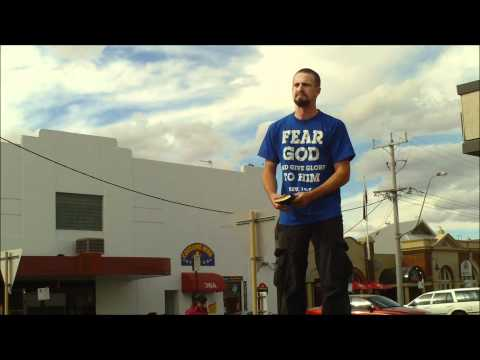 Street Preaching On A Bin in Horsham, Victoria - Police Officer makes a confrontation