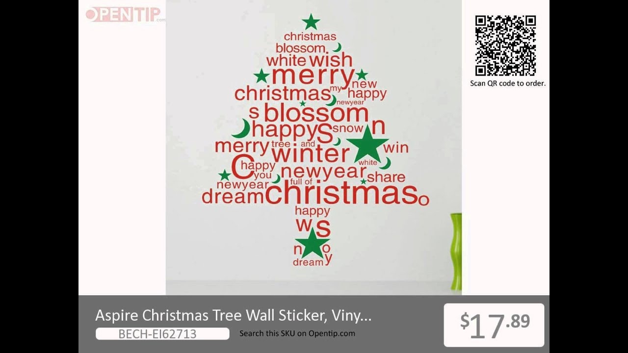 Aspire Christmas Tree Wall Sticker, Vinyl Wall Quotes from Opentip ...