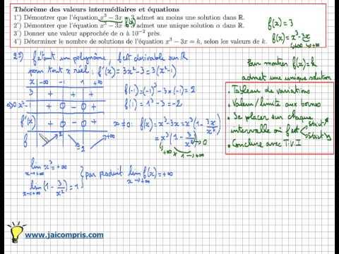 théorème des valeurs intermédiaires - lien avec les équations - exercice type Bac
